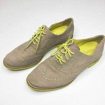 Cole Haan tan suede loafers Size 6 B neon yellow laces women's shoes - $50.00