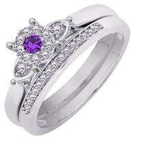 Round Cut Amethyst Bridal Engagement Ring Set 14K White Gold Over - $79.99