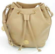 DKNY Donna Karan Beige Dune Leather Bucket Cross Body Bag Medium - $319.25