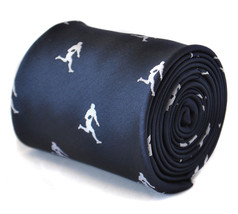 Frederick Thomas navy blue tie with rugby player design FT2114