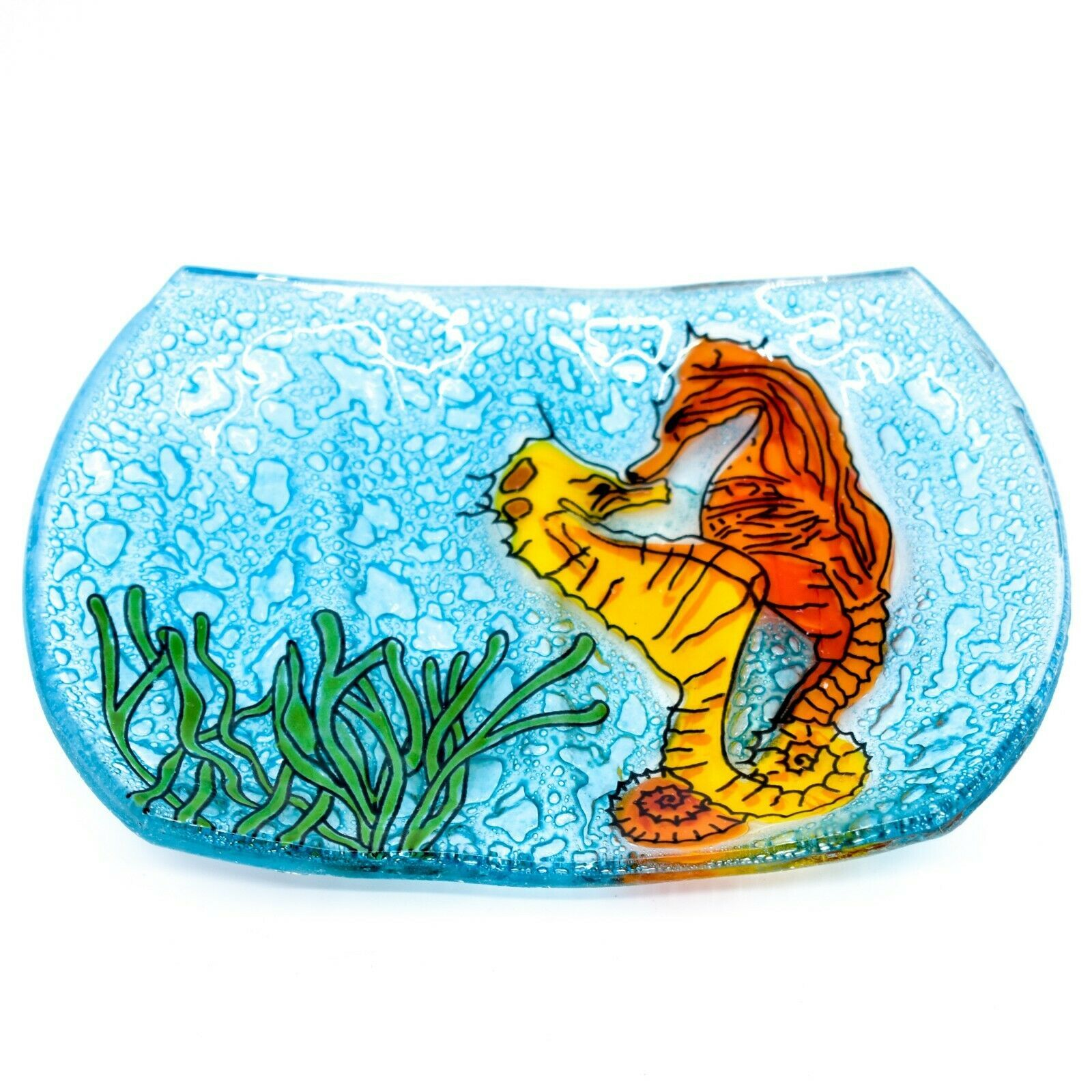Fused Art Glass Seahorse Marine Ocean Design Soap Dish Handmade in Ecuador