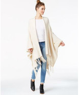kensie Fringe Detail Sweater Open Front Poncho Dune ONE SIZE MyAFC - $65.97