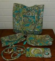 """Vera Bradley """"Peacock"""" 4 Pieces Purse Set Handbag Wallet cosmetic Blue Retired - $64.35"""