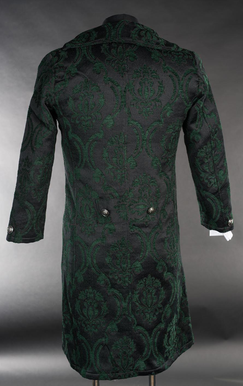 NWT Men's Black Green Brocade Victorian Goth Vampire Tailcoat Jacket