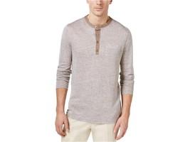 $75 Tasso Elba Mens Linen Marled Henley Shirt, Acorn Cbo, Size M - $39.59