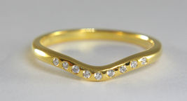 Solid 18k Yellow Gold Simple Yet Elegant White Diamond Curved Anniversary Ring   - $559.99