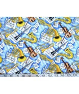 1/2 yard Music/jazz/instruments/horns/violins blue quilt fabric - free s... - $11.99