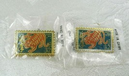 Set of 2 Pins 32 Cent Stamp Happy New Year Tiger NEW Unopened 1998 - $12.86
