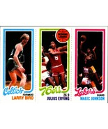 Lot of 5 1980-81 Topps Larry Bird Julius Erving Magic Johnson rookie rep... - $5.94