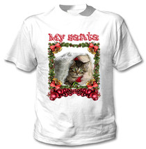 Kitty Cat 1 My Santa Christmas - New White Cotton Tshirt - $18.31