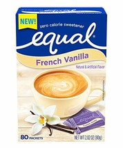 EQUAL French Vanilla Zero Calorie Sweetener Flavored Sugar Substitute 80... - $54.01