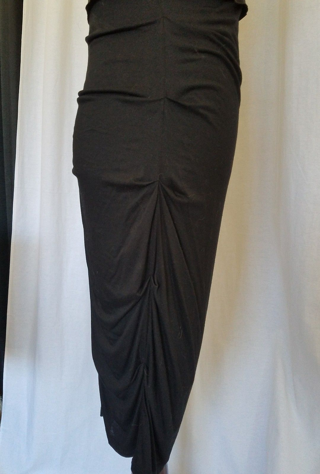 Rubber Ducky Black Satin Like Corsett Bustier Dress With Rouching Bodycon NWOT L
