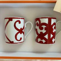 Hermes Balcon du Guadalquivir Porcelain Mug Cup Set of 2 Red Dinnerware R30 - $454.41