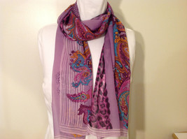 Paisley, Lines, Leopard Print Summer Sheer Fabric Multicolor Scarf, 6 colors image 1