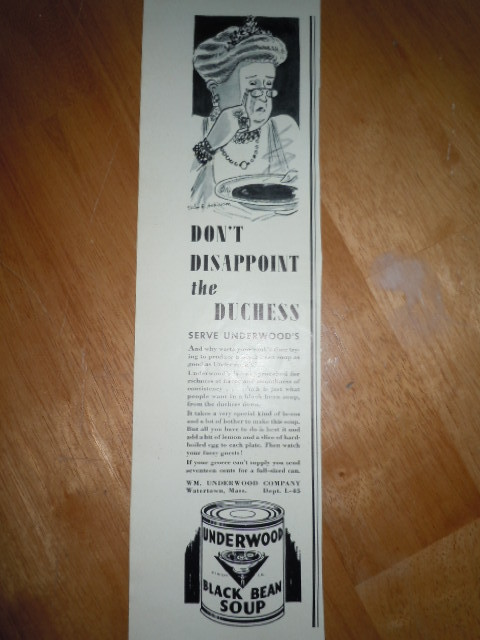 Vintage Underwood Black Bean Soup Cartoon Print Magazine Advertisement 1937