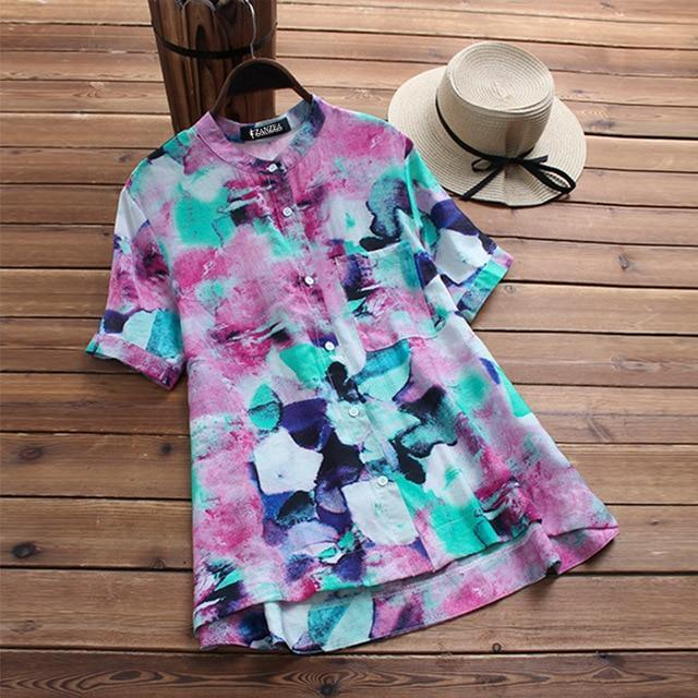 Top Fashion 2018 ZANZEA Summer Casual O Neck Short Sleeve Blouse Women Vintage B image 2