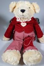 "Bestever Plush Busby Bear 12"" Red Corduroy Jacket Striped Pants Pocket H... - $19.25"
