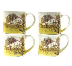 Country Mill House By Otagiri Stoneware Coffee Mug Set  4-VTG Yellow Ivo... - $36.63