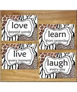 Leopard Zebra Giraffe Animal Prints Wall Art Decor Safari LIVE LOVE LAUG... - $13.99