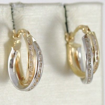 WHITE GOLD EARRINGS YELLOW 750 18K CIRCLE, ZIRCON, TWISTED, CROSSED