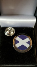 scottish Flag st andrew silver Metal Enamel Badge Lapel /tie Pin Badge 3d effect