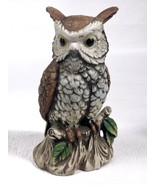 """Porcelain Bisque 6-1/2"""" Tall HOMCO  Owl Sitting on Branch Figurine 3130 ... - $9.79"""