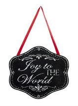 "KURT S. ADLER ""JOY TO THE WORLD"" CHALKBOARD PLAQUE CHRISTMAS ORNAMENT W/... - $4.88"