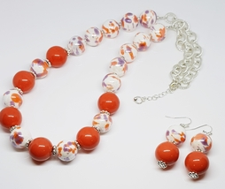 Orange Purple White Ceramic Beads/Orange Ceramic Beaded Duo Set - $30.00