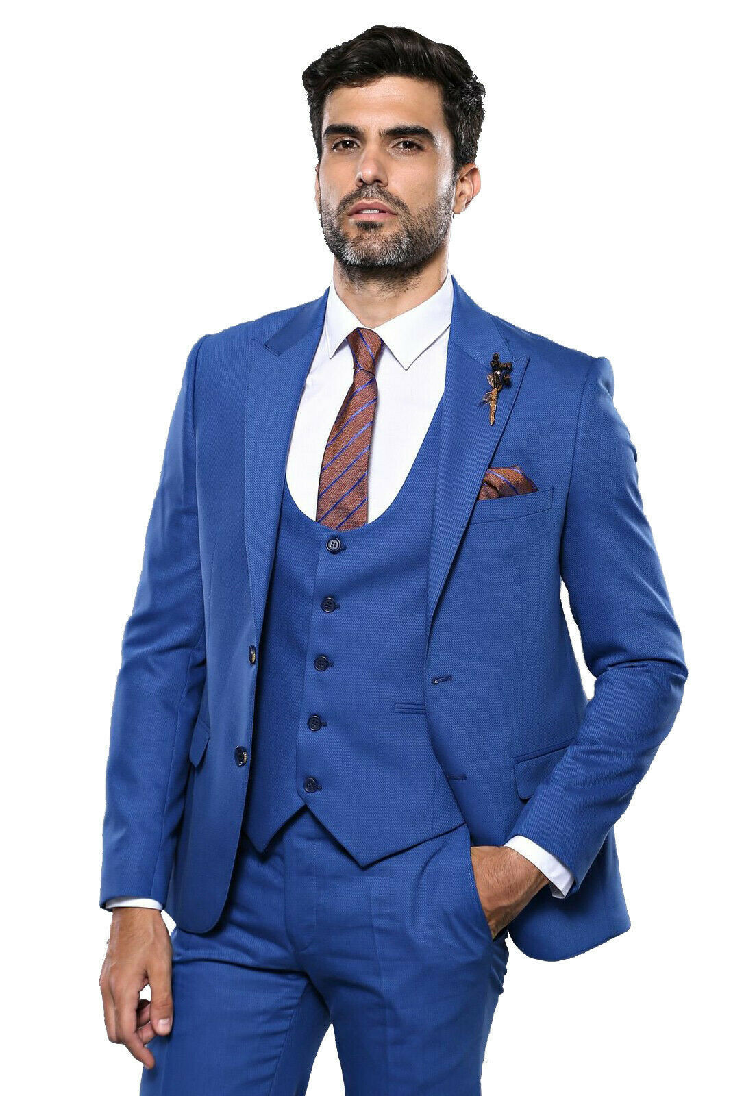 Primary image for Men Three Piece Vested Suit WESSI by J.VALINTIN Extra Slim Fit JV8 Light blue