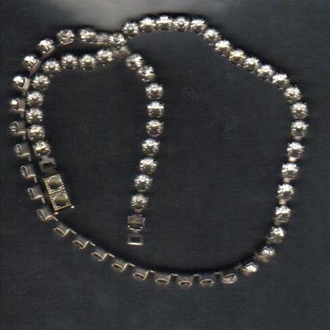 "Single Strand Rhinestone Choker Necklace, 14 1/2"""