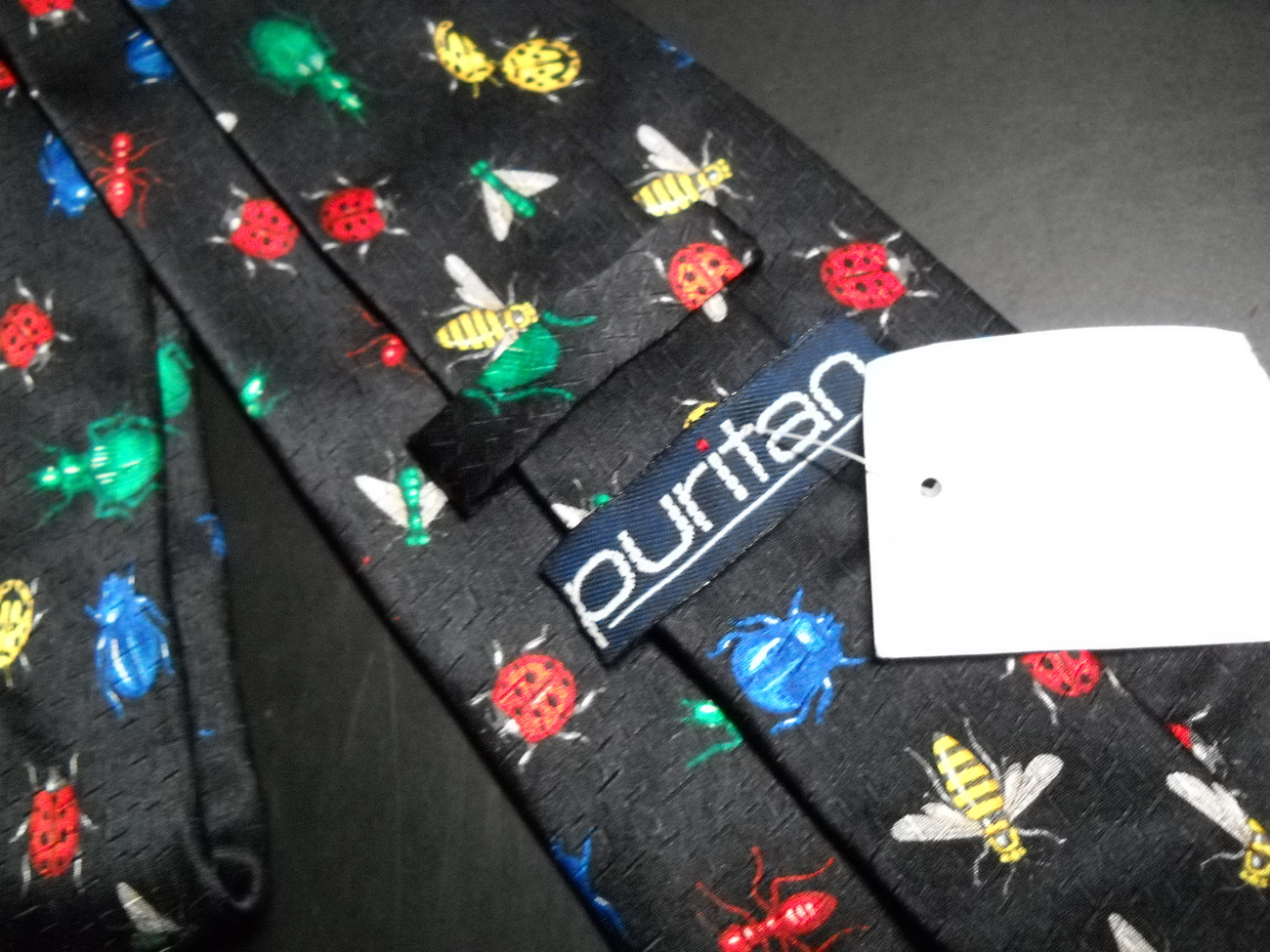 Puritan Neck Tie Black With Repeating Colorful Bugs Hand Made Silk Never Worn