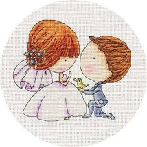 Counted Cross Stitch Hand Embroidery Kit for Beginner Cute Couple Wedding - $10.64