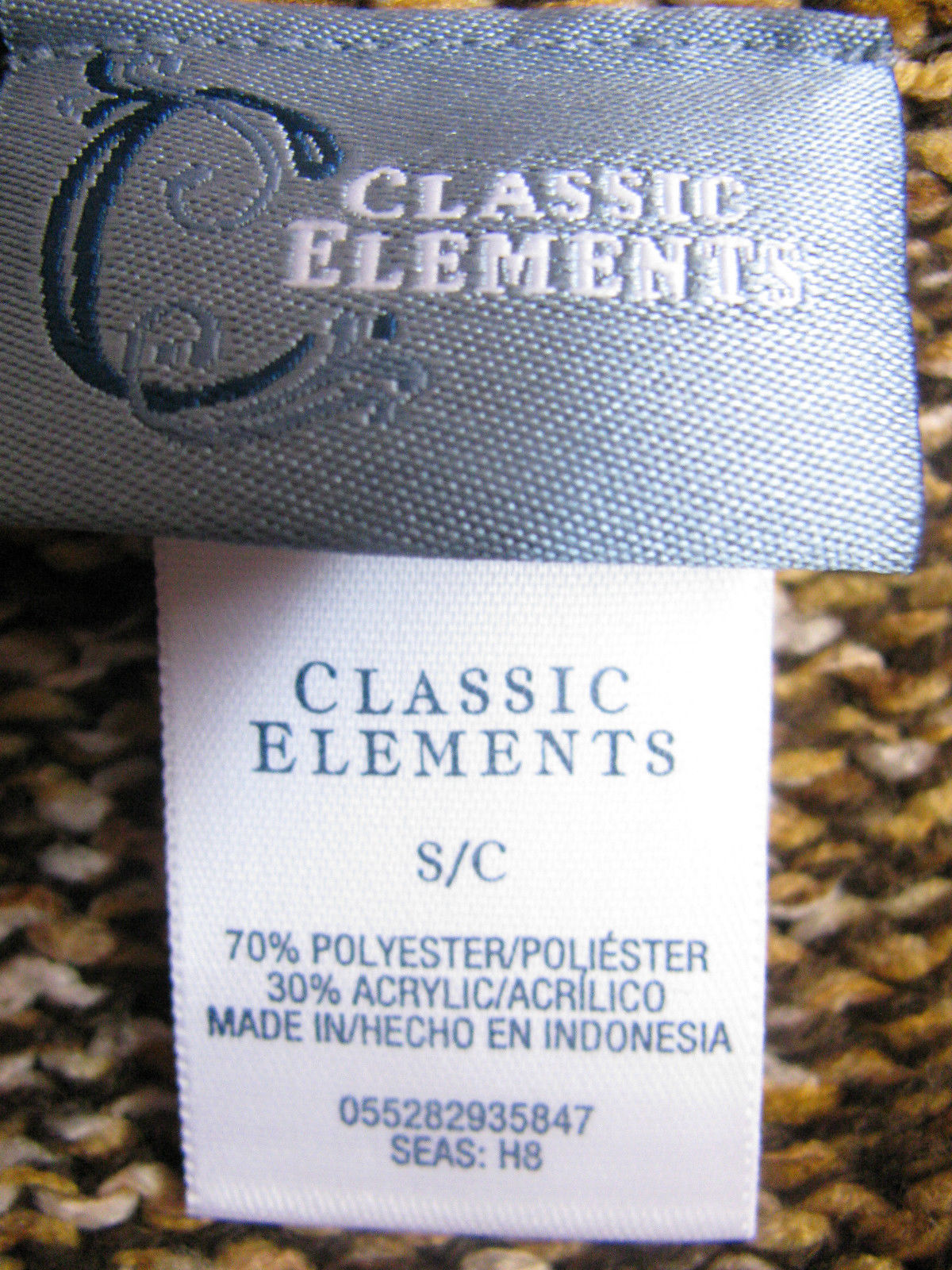 "CLASSIC ELEMENTS  S/C SQWEATER 37""CHEST-23""SLEEVE-22""LONG-70%POLY-35%ACRYLIC"