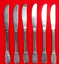 "6X Dinner Table Knives FB Rogers Stainless Flat Square End Flatware 8.5""... - $31.68"