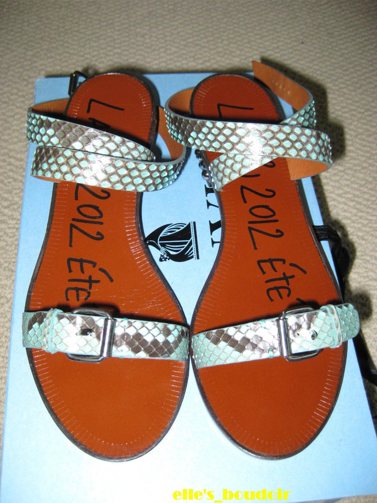 NIB Lanvin Python Studded Heel Sandals Shoes 36.5 $1190