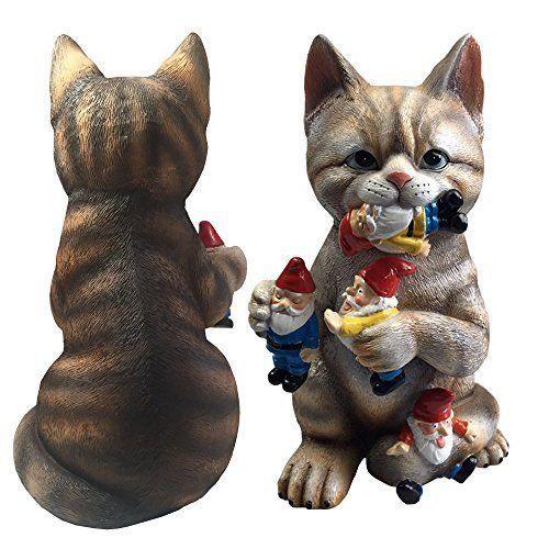 Funny Garden Sculpture Crazy Cat Eating Gnomes Indoor Outdoor Decor