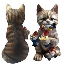 Funny Garden Sculpture Crazy Cat Eating Gnomes Indoor Outdoor Decor  - $54.00