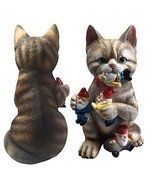 Funny Garden Sculpture Crazy Cat Eating Gnomes Indoor Outdoor Decor  - £39.79 GBP