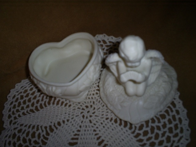 Porcelain Bisque Trinket Box, Angel with accordian