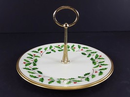 """LENOX China Holiday Dimension Round Tidbit Plate with Handle 8-1/4"""" Dinnerware image 1"""