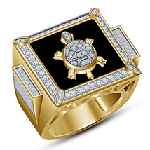 14k Yellow Gold Plated 925 Sterling Silver Black Enamel Band Men's Torto... - $87.22