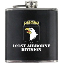 Army 101st Airborne Division Veteran Full Color Groomsman Gift Leather Flask - $19.79
