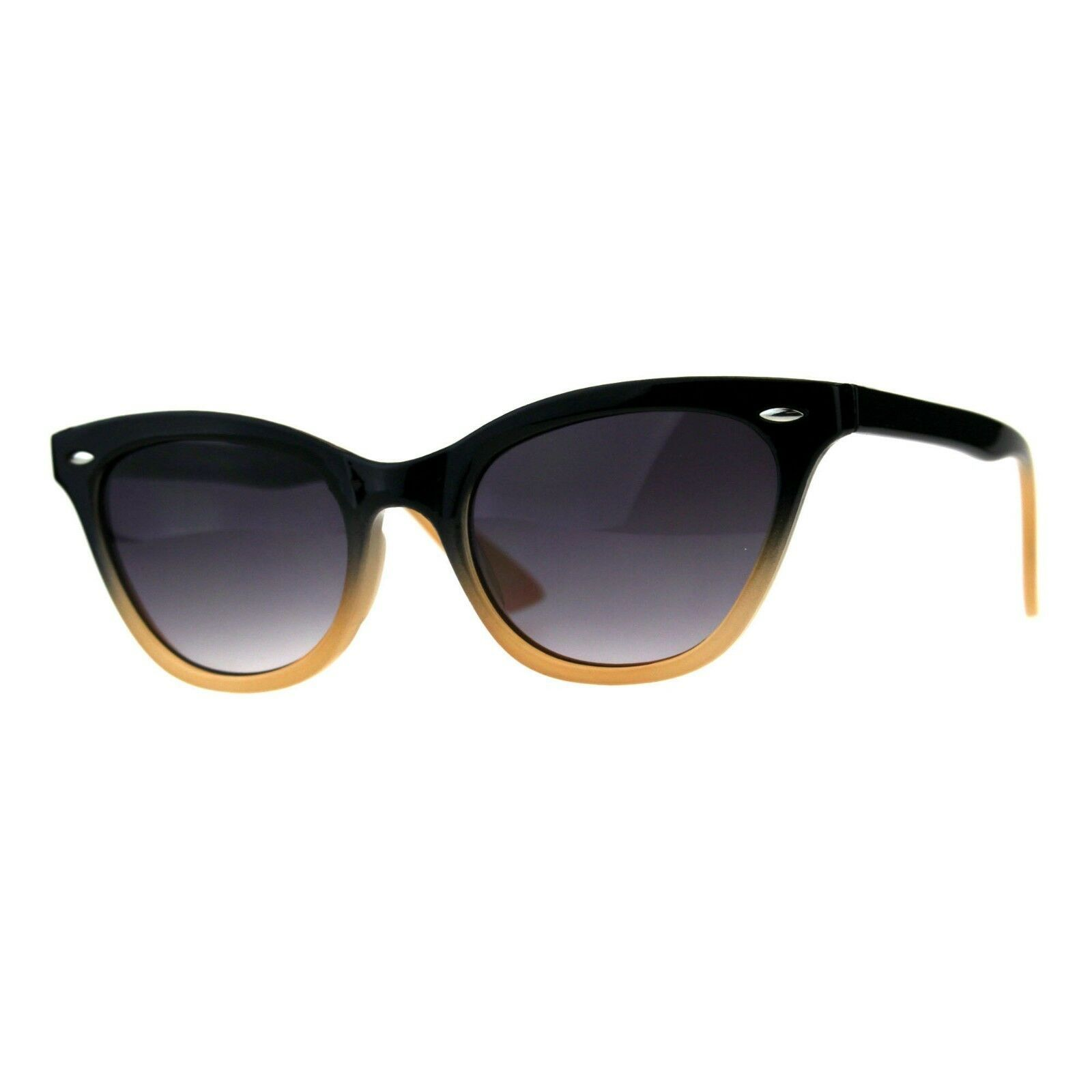 Womens Oval Cateye Fashion Sunglasses Black & Color 2 Tone Shades UV 400