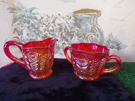 Vintage Indiana Glass Carnival Amberina Heirloom Sunset open sugar & creamer set - $27.23