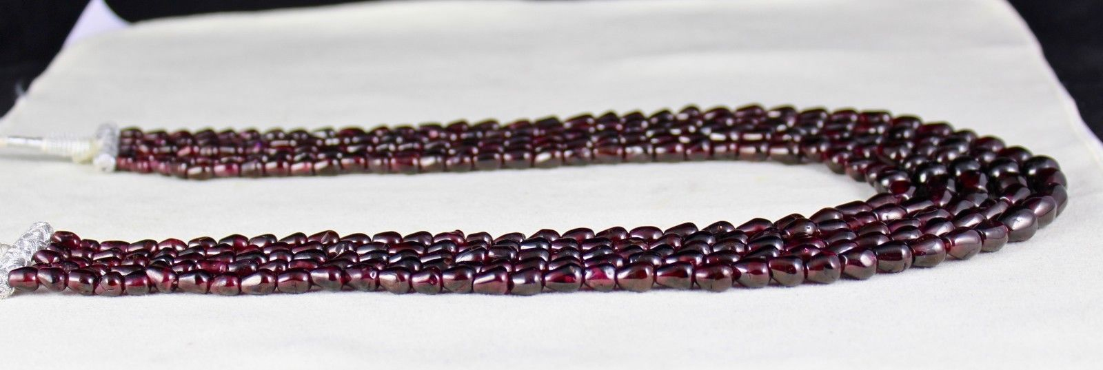 5 LINE 1057 CARATS NATURAL GARNET FANCY GEMSTONE LADIES BEADS NECKLACE