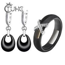 2019 Costume Jewelry Sets Black White Pink Water Drop Pendant Jewelry Ea... - $29.18