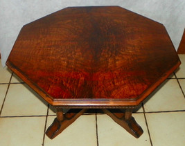 Book Match Burl Walnut Veneer Hexagon Coffee Table - $499.00
