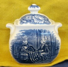Staffordshire Liberty Blue Sugar Bowl w Lid Betsy Ross the Nation´s Firs... - $39.59