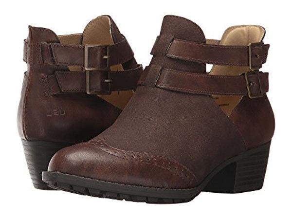 NIB JAMBU JBU boots booties 7 37 ankle brown vegan suede & leather memory foam  - $58.19