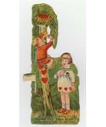 Vintage Valentine Card Mechanical Boy Climbs Tree Nest of Hearts 1920's - $12.86